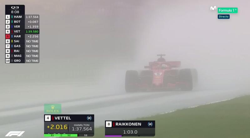 Vettel rodando bajo la lluvia.