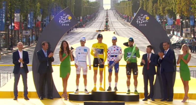 Los vencedores de los cuatro maillots que están en juego en el Tour de Francia
