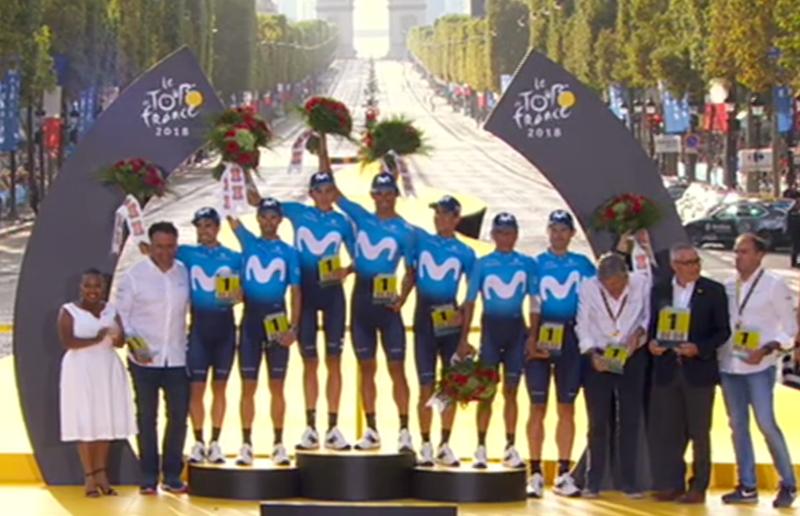 El conjunto Movistar recoge el premio de la clasificación por equipos