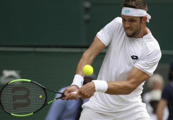 El checo Jiri Vesely, 24 años y 93º ATP. Superado en la primera media hora de juego por un Rafa Nadal ejerciendo de nº 1 y rememorando sus mejores tiempos en Wimbledon FOTO: AP