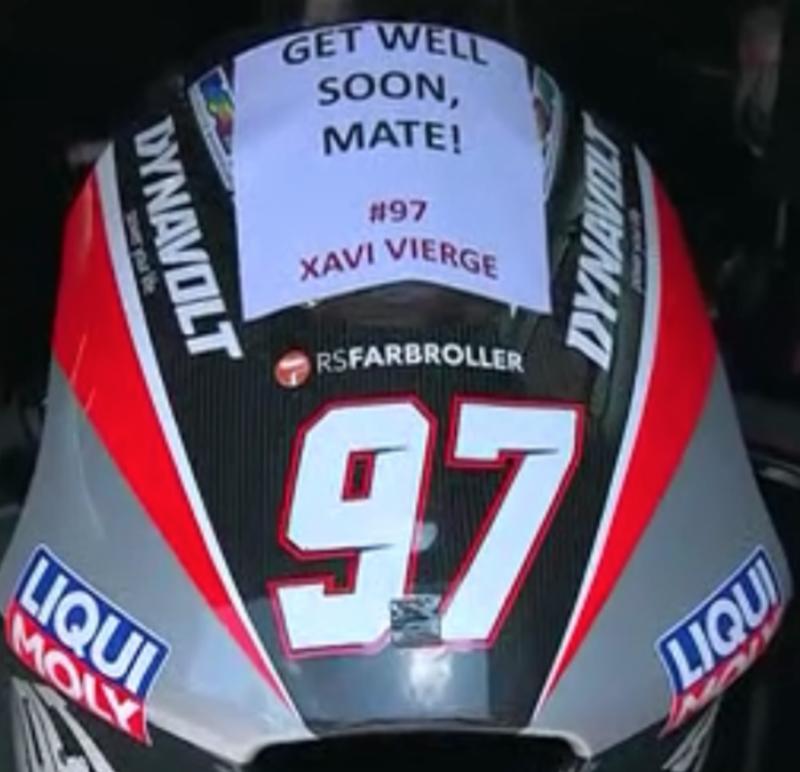 Xavi Vierge no correrá hoy tras su caída en la jornada del sábado. Desde su box le envían un mensaje de ánimo.