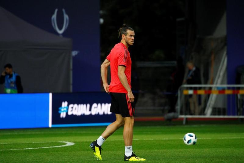 Gareth Bale, en el entrenamiento previo al partido