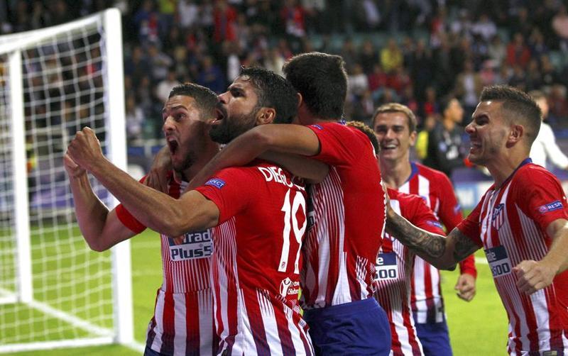 Celebración del primer gol del Atlético de Madrid