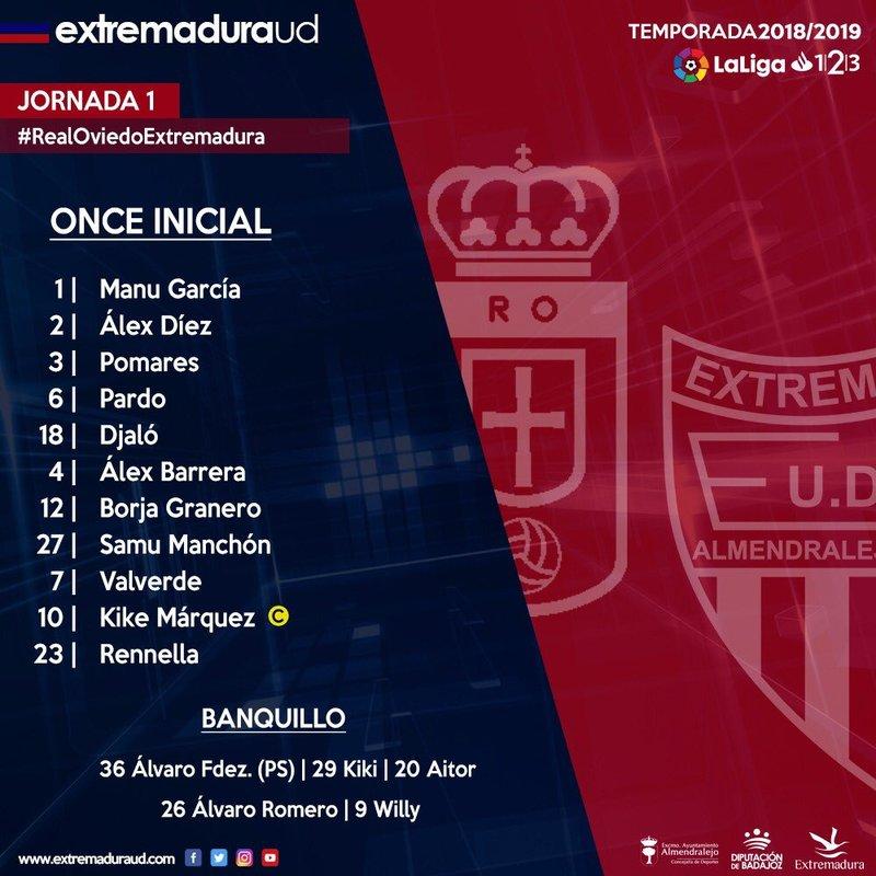 Así indicó su once titular el Extremadura. EXT_UD