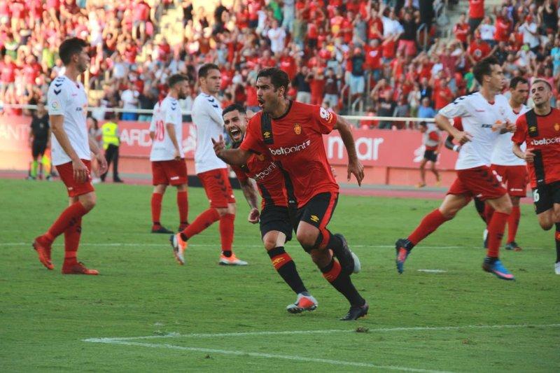 Celebración del gol de Abdón. RCD_Mallorca