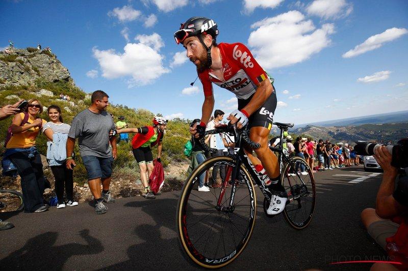 THOMAS DE GENDT (Lotto Soudal) está completando una buena contrarreloj hoy en la Vuelta a España. 7º mejor tiempo en el kilómetro 21