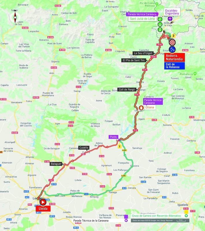 La carrera ya ha dejado atrás a Balaguer y se dirige hacia Artesa de Segre