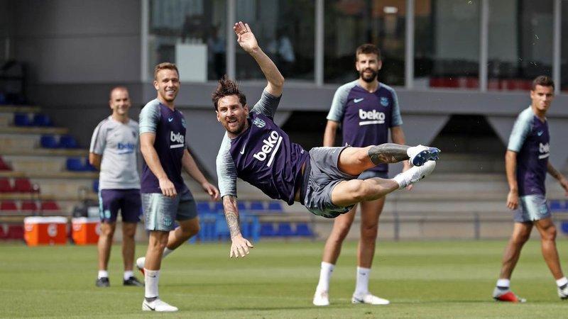 Así de animado estaba Messi en el último entrenamiento FOTO: FCB