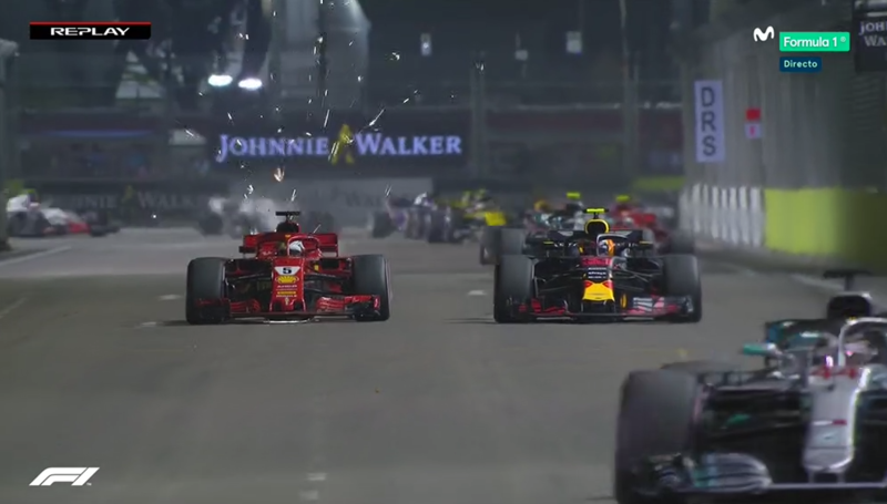 Adelantamiento de Vettel a Verstappen.