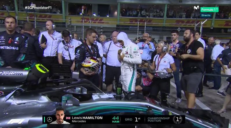 El poleman se prepara para la carrera de F1.