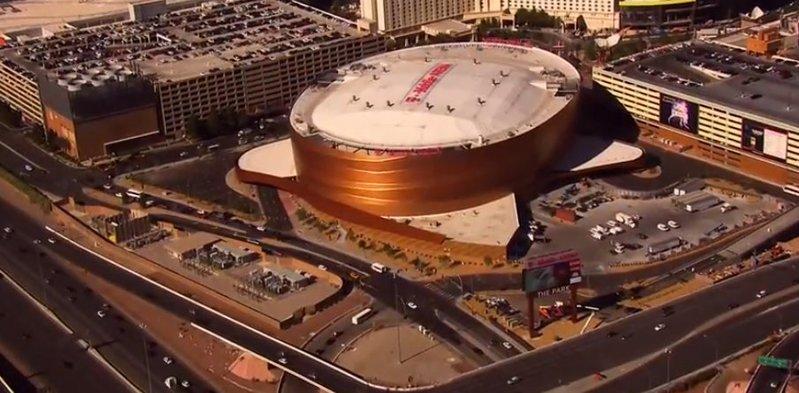 El T-Mobile de Las Vegas, visto desde el aire