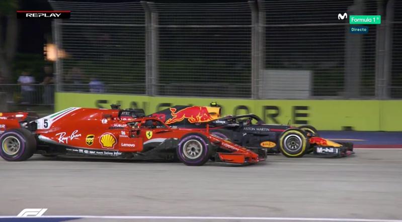Adelantamiento de Verstappen sobre Vettel tras el Pit Stop.