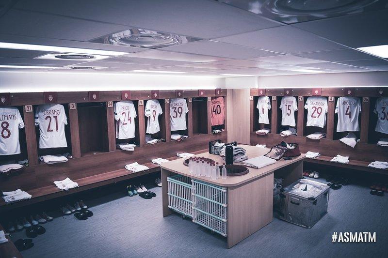 El vestuario del Mónaco, preparado para el partido (AS Mónaco)