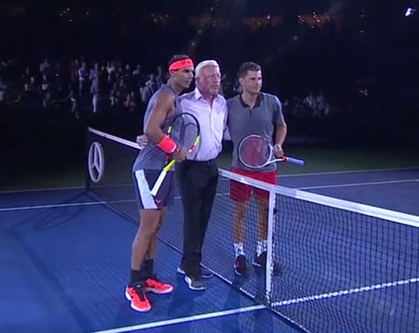 Boris Becker lanzó la moneda para el sorteo del Nadal-Thiem. Lo ganó el austríaco