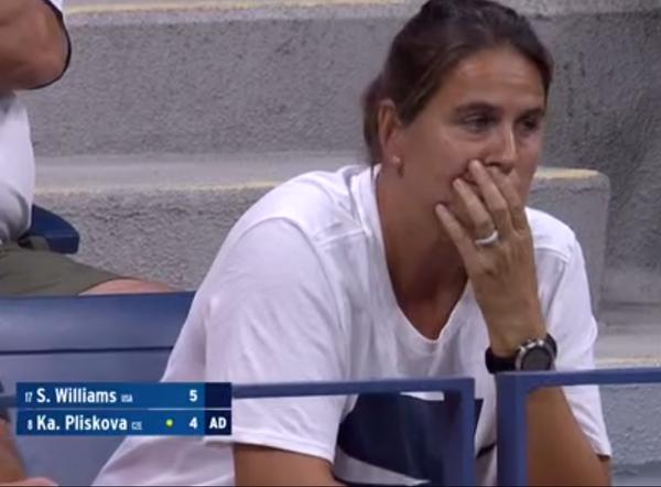 Conchita Martínez sufriendo con su pupila en el US Open Karolina Pliskova