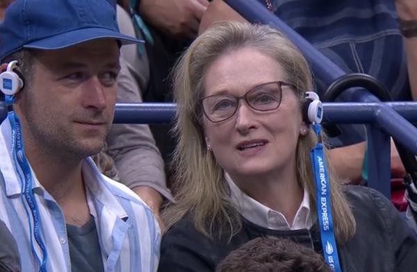 La actriz Meryl Streep, espectadora de la final, del por ahora recital de Djokovic