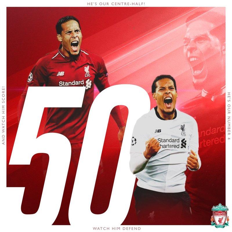 Hoy también es un día especial para el holandés Virgil Van Dijk. Llega a los 50 partidos con el Liverpool