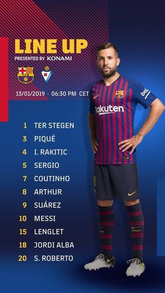 El once del Barça, en su cuenta de twitter