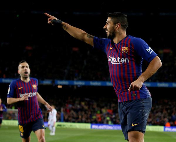La celebración de Luis Suárez tras el 1-0 FOTO: PEP MORATA
