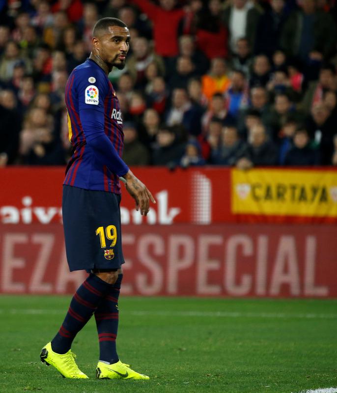 Boateng, el debutante del Barça hoy en el Sánchez Pizjuán. FOTO: PEP MORATA