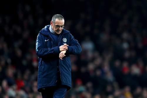 e3d01a94f Sarri is under pressure after his extraordinary outburst following Chelsea s  defeat at Arsenal