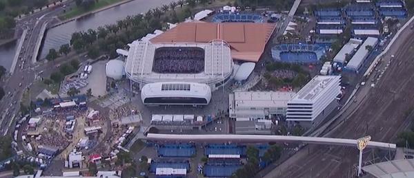 Vista desde el cielo del Rod Laver Arena, la pista central de Melbourne Park