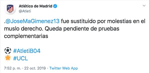 Primer comunicado del Atlético sobre Giménez. (FOTO: @Atleti)