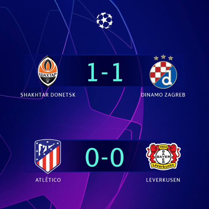 Los resultados al descanso de los dos partidos que se están jugando. En el otro marcaron Konoplyanka; Dani Olmo. (FOTO: @ChampionsLeague)