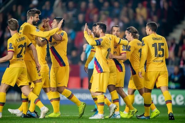 Así han celebrado los jugadores del Barça el tempranero gol de Leo Messi