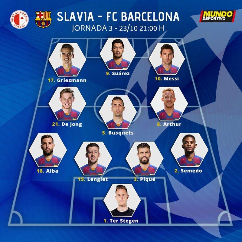 La alineación del Barça ante el Slavia de Praga