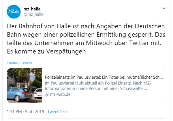 Secondo la redazione locale del quotidiano Mitteldeutschen Zeitung, la stazione ferroviaria di Halle è stata chiusa su richiesta della polizia