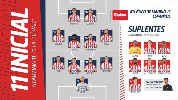 Así jugará el Atlético de Madrid. (FOTO: @Atleti)