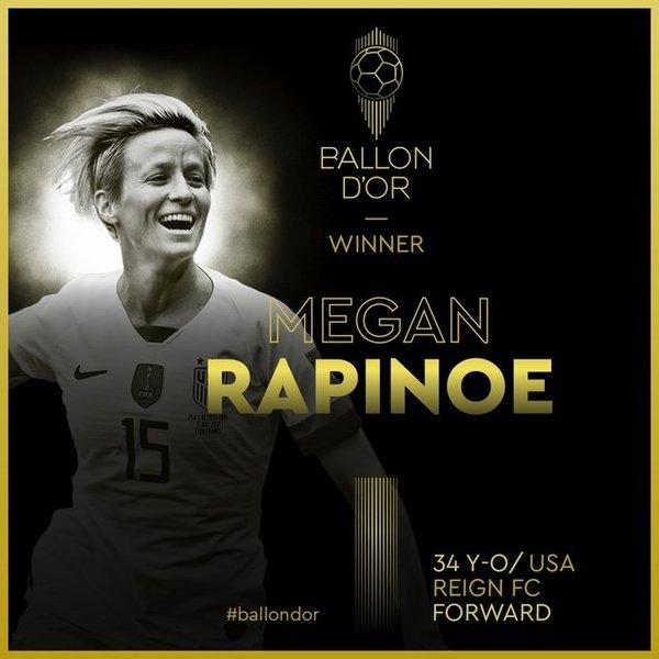 Megan Rapinoe, Balón de Oro femenino por primera vez
