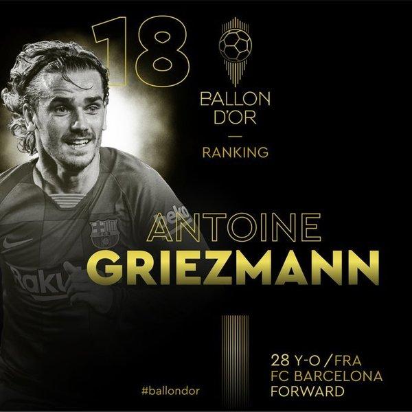 Así anuncia France Football el puesto 18 de Griezmann