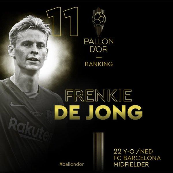 Así anuncia France Football el 11º puesto de Frenkie de Jong
