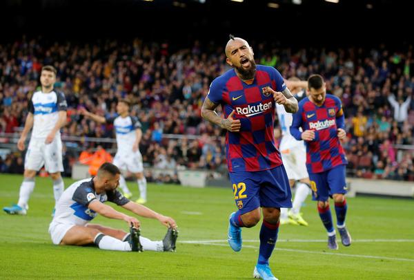 Arturo Vidal tras anotar el 2-0 FOTO: PEP MORATA