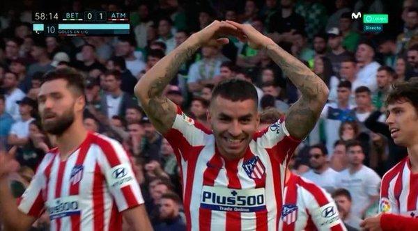 Así celebro Correa su gol contra el Betis. FOTO: @MovistarFutbol