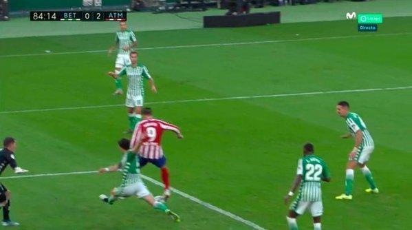 Así fue el gol de Morata. El 0-2 para el Atlético de Madrid. Foto: @MovistarFutbol
