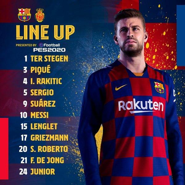 El once del Barça en el twitter del club