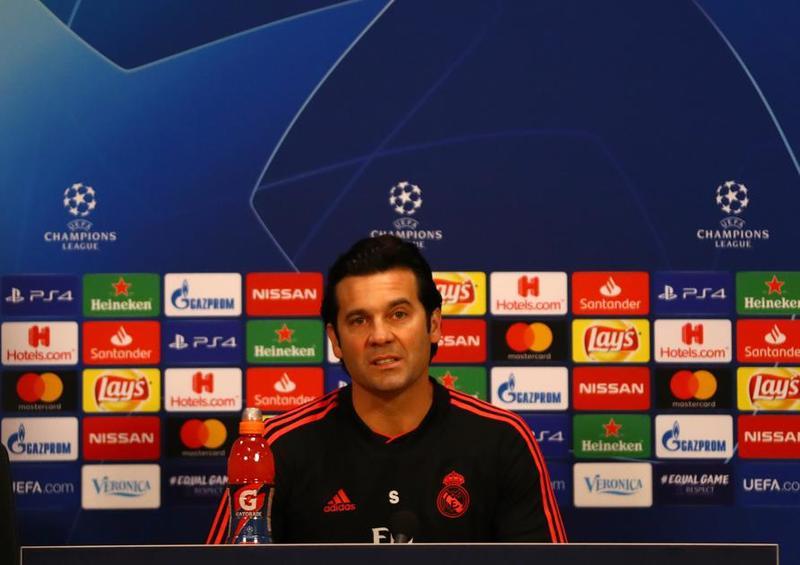 Solari, durante la rueda de prensa previa al partido de Champions League
