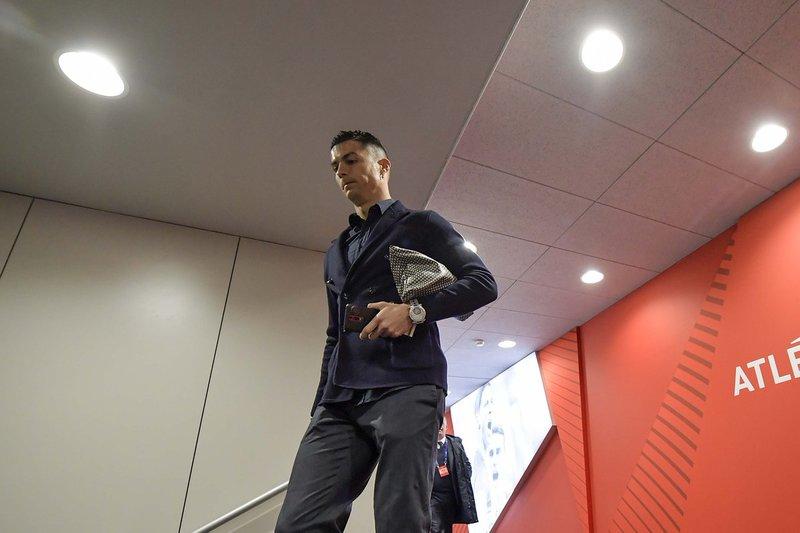 Cristiano Ronaldo, a su llegada al Metropolitano