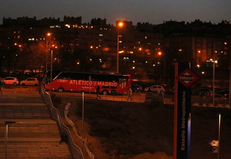 Así ha llegado el autobús del Atlético al Metropolitano
