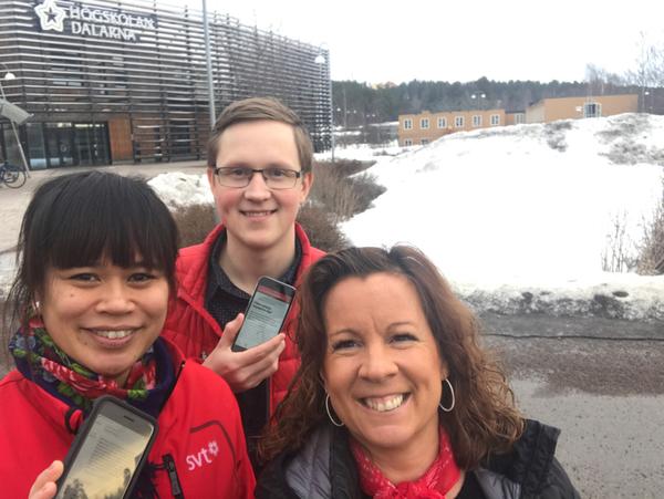 Nu är vi på plats på högskolan i Falun. Kom och snacka nyheter med oss! /reporter Charlotte Pettersson, Alfred Jakobsson och redaktionschef Nina Funke