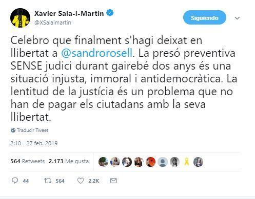 Tuit de Xavier Sala i Martí