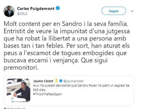 El tuit de Puigdemont