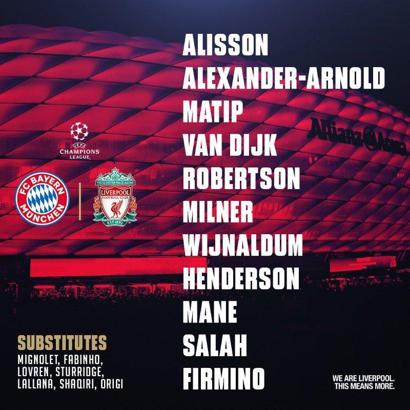 Así ha anunciado el once la cuenta oficial del Liverpool.
