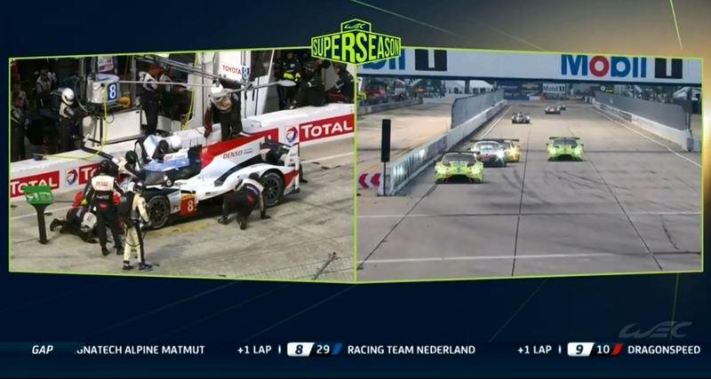 Parada a boxes de Toyota 8 de Alonso, pilotado por Buemi, mientras varios coches pasan a García