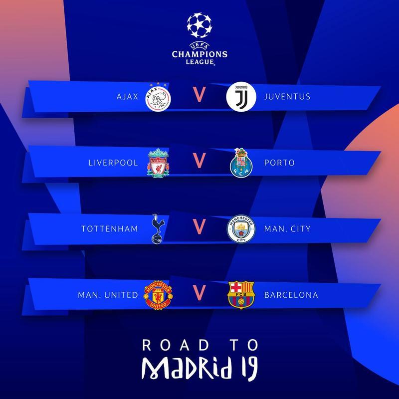 Los cruces de cuartos de final de la Champions League