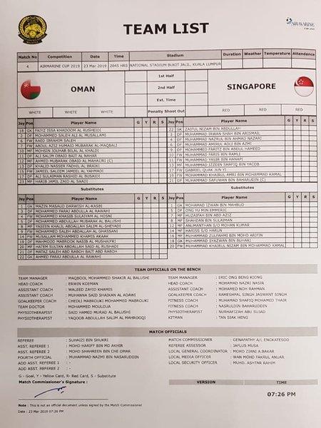 LIVE: Airmarine Cup 2019 - Singapore vs Oman