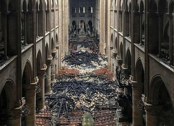 Risultati immagini per dentro notre dame dopo l'incendio? immagini